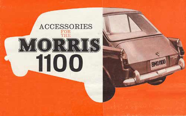 front page of 1964 Morris 1100 accessories brochure