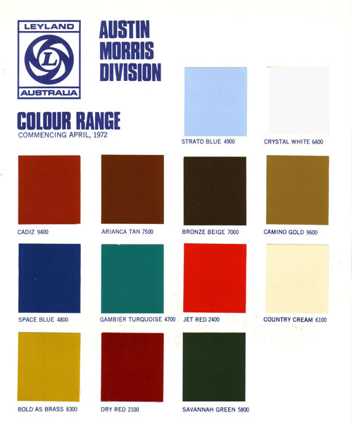 Morris Marina Paint Colours