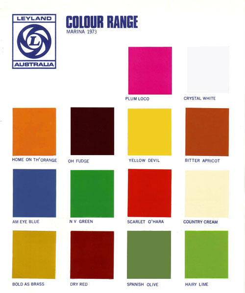 Morris Marina Paint Colours 1974