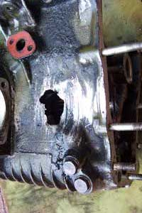 Hole in gearbox casing